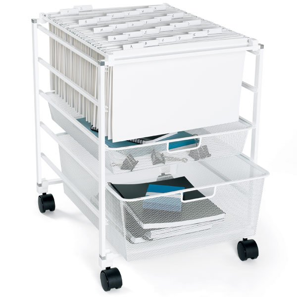White elfa Mesh File Carts
